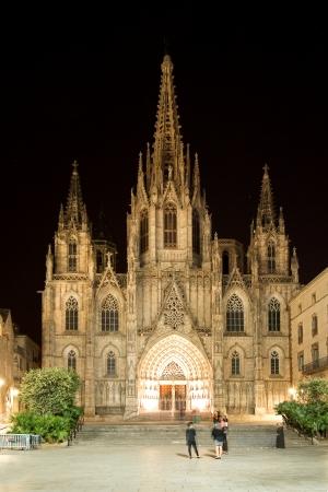 gotico: Catedral de la Santa Cruz y Santa Eulalia en la noche. Barcelona, ??Espa�a Foto de archivo