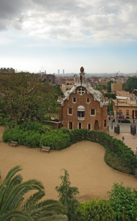 Park Guell in Barcelona. Park Guell was commissioned by Eusebi Guell and designed by Antonio Gaudi.