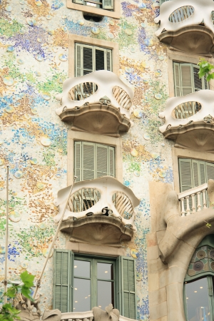 BARCELONA - MAY 08: The facade of the house Casa Batllo designed by Antoni Gaudi with his famous style on May 08, 2013 Barcelona, Spain