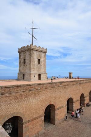 Big tower of Castle of Montjuic, Barcelona, Spain  Editorial