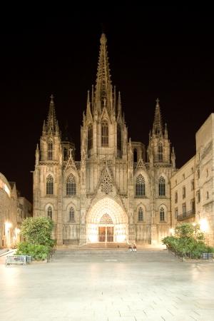 gotico: Catedral de la Santa Cruz y Santa Eulalia en la noche en Barcelona, ??Espa�a Foto de archivo