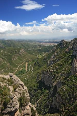 View from Montserrat - a multi-peaked mountain near Barcelona, Catalonia, Spain.  Stock Photo
