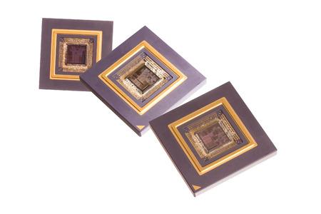 microprocesadores: Microprocesadores aislados en blanco Foto de archivo