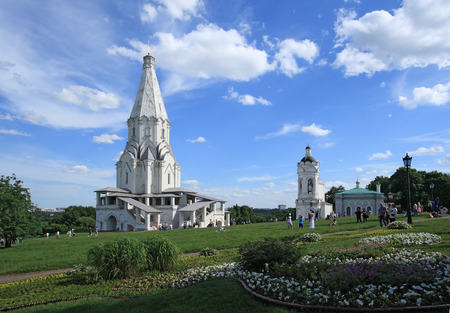 church architecture: The Church of the Ascension (1532), the first tent-roof stone church in Kolomenskoye, Moscow, Russia.  It was built at the order of Moscow Grand Prince Vasily III. Stock Photo