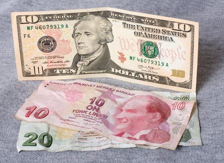 finacial: Finacial crisis: new ten dollars over thirty crumpled turkish liras