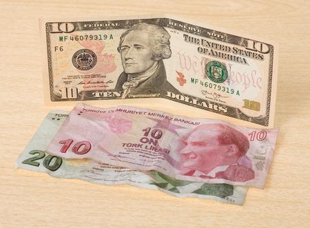 thirty: Financial crisis: new ten dollars over thirty crumpled turkish lira