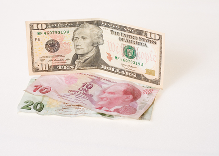 turkish lira: Financial crisis: new ten dollars over thirty crumpled turkish lira
