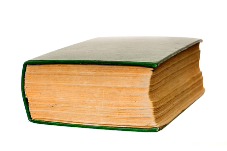 old green book isolated on the white background Stock Photo