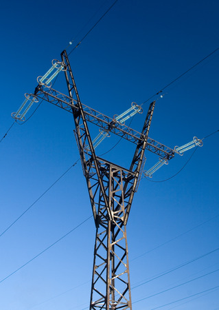 mast: High voltage line mast Stock Photo