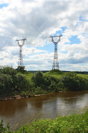 High voltage line in the countryside Stock Photo
