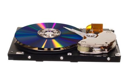 disco duro: Unidad de disco duro con CD  DVD en lugar de la placa magnética aisladas sobre fondo blanco Foto de archivo