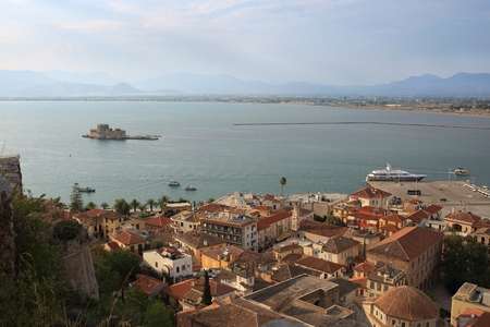 bourtzi: View of the old part of Nafplio town from Palamidi castle, Greece