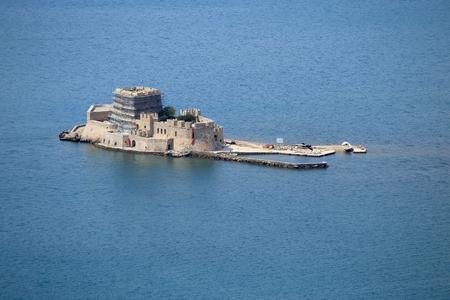 bourtzi: Old Venetian fortress and old prison, Bourtzi, in Argolis bay, Nafplio, Greece Editorial