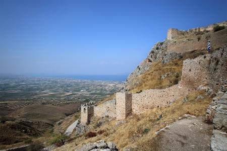 Acrocorinth (the acropolis of ancient Corinth) Banco de Imagens