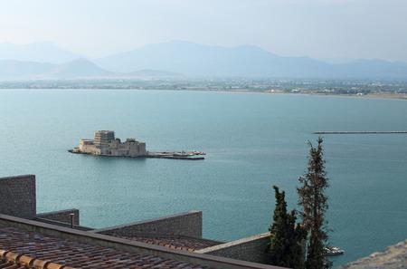 bourtzi: Old Venetian fortress and old prison, Bourtzi, in Argolis bay, Nafplio, Greece Stock Photo