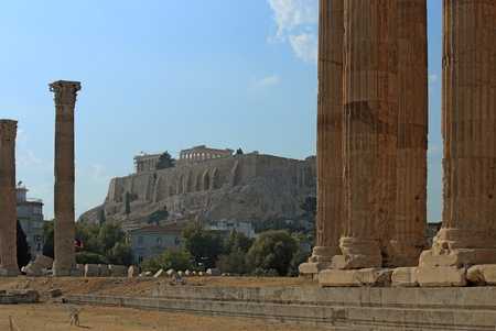 Athens Acropolis view from the temple of Zeus site