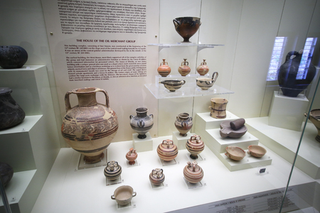 Mycenae, Greece, September, 07, 2016. Pottery in museum of Mycenae. These artefacts were created about 3500 years ago.