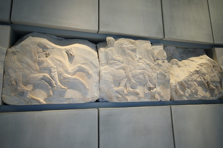 Athens, Greece, September, 11, 2016. Bas-reliefs in museum of Acropolis, Athens. They were dismantled from Pathenon and are originals.