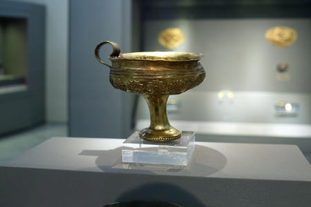 Athens, Greece, September, 03, 2016. Mycenaean gold in museum of archaeology, Athens, Greece. These treasures were excavated by Schliemann in Mycenae.