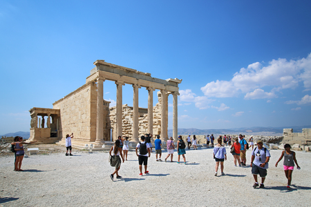 Athens, Greece, August, 30, 2016. Tourists look at Erechtheion in Athens Acropolis, Greece. Editorial