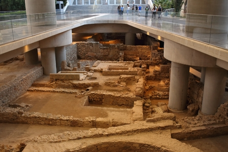 Athens, Greece, September, 11, 2016. Ancient greek ruins in Athens museum of Acropolis. They were excavated during erection of new museum builging.