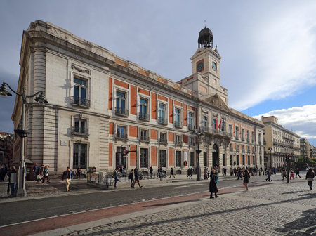 Madrid, Spain, May, 12, 2017. Real Casa de Correos (Royal Post office) at Puerta del Sol, Madrid, Spain. This building is at the most famous square of Madrid.