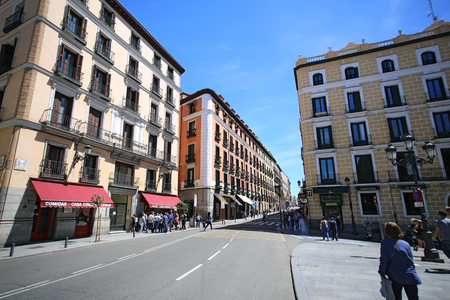 Madrid, Spain, May, 7, 2017. Calle Mayor in Madrid, Spain. This street is the most popular one for tourists in Madrid.