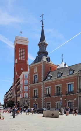 마드리드, 스페인, May, 7, 2017. 외무부 호텔, 마드리드, 스페인. 이 역사적인 건물은 마드리드의 마요르 광장 (Major Square) 옆에 있습니다. 에디토리얼