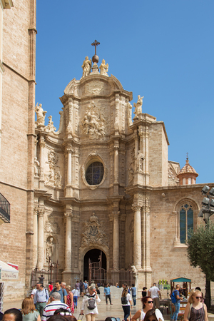 Valencia, Spain - September, 12, 2018. Valencia Cathedral. The church has different architectural styles - roman, gothic and baroque - which make in the main historical landmark of the city