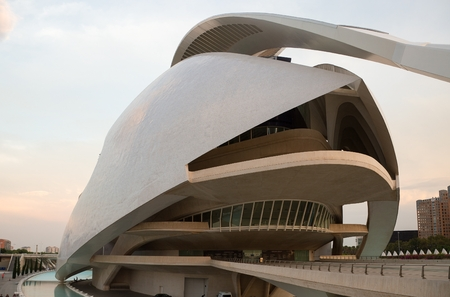 The Palace of Arts in Ciudad de las Artes y las Ciencias (City of Arts and Sciences)- State-of-the-art science and art complex set within a landscaped park with a huge aquarium and IMAX screen in Valencia, Spain