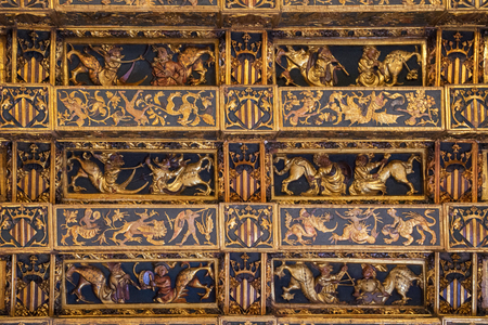 Valencia, Spain - September, 12, 2018. La Lonja de la Seda interior ceiling. This is the gothic building of Silk Exchange which was the center of silk trade of Spain and now is the very popular landmark of Valencia