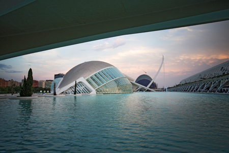 Hemisferic IMAX theater in Ciudad de las Artes y las Ciencias (City of Arts and Sciences) - State-of-the-art science and art complex set within a landscaped park with a huge aquarium and IMAX screen in Valencia, Spain