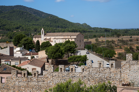 View from the hill in the center of Montblanc town to the hospital of Santa Magdalena, Catalonia, Spain Editorial