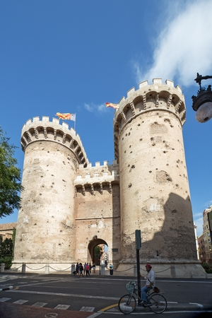 Valencia, Spain - September, 12, 2018. Torres de Quart (Quart Towers) in Valencia - old city fortification. This historical gates has a lot of dints made by the cannonballs of Napoleon Army artillery Editorial