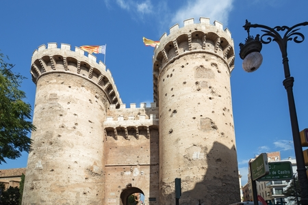 Torres de Quart (Quart Towers) in Valencia - old city fortification. This historical gates has a lot of dints made by the cannonballs of Napoleon Army artillery