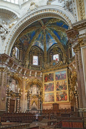 Valencia, Spain - September, 12, 2018. Valencia Cathedral interior. The church has different architectural styles - roman, gothic and baroque - which make in the main historical landmark of the city