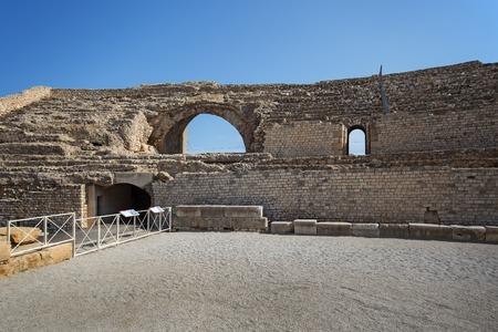 Roman amphitheatre ruins in Tarragona, Catalonia, Spain Stock Photo