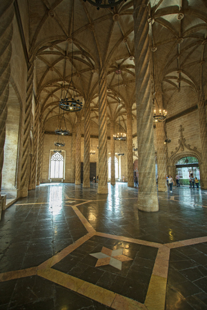 Valencia, Spain - September, 12, 2018. La Lonja de la Seda interior. This is the gothic building of Silk Exchange which was the center of silk trade of Spain and now is the very popular landmark of Valencia