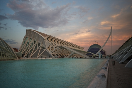 science museum in Ciudad de las Artes y las Ciencias (City of Arts and Sciences)- State-of-the-art science and art complex set within a landscaped park with a huge aquarium and IMAX screen in Valencia, Spain Editorial