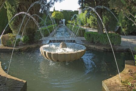 Generalife garden fountains. Alhambra palaces complex, Granada, Spain