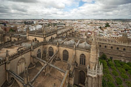 View to Seville cathedral and the city from Giralda bellfry, Spain 版權商用圖片