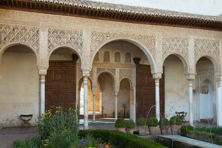Generalife garden fountains. Alhambra palaces complex, Granada, Spain