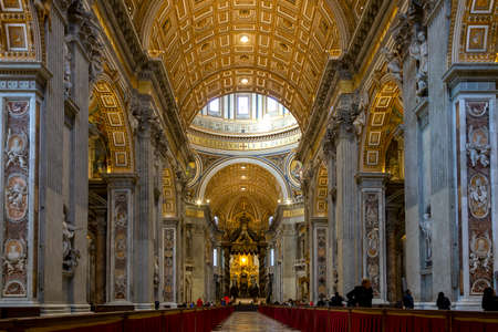Vatican, Rome, Italy - January, 7, 2020. Interior of the Saint Peter cathedral of Vatican. The cathedral is the largest and the mos famous catholic church of the world.