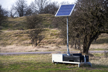 solarcell: Solar energy unit used for scientific measurements in the Amsterdamse Waterleidingduinen, the Netherlands