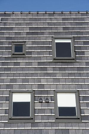skylights: Stylish dark grey roof with skylights Stock Photo