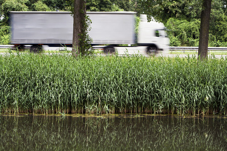 trucker: Nature and green next to the highway where a trucker is doing its job