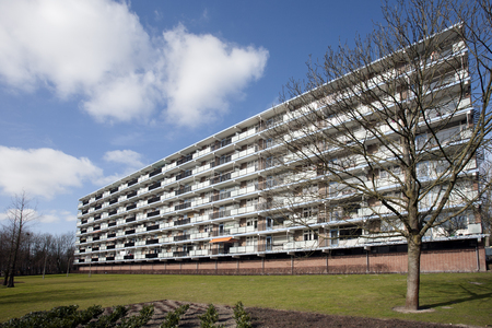 apartment block: Apartment block from the seventies in a green environment.