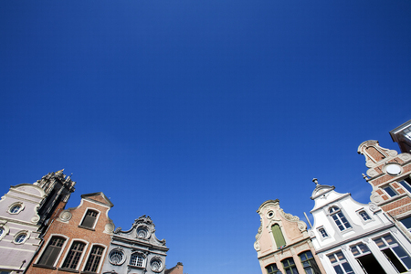 18th: Facade of 18th century buildings at the Grote Markt (Large market square) in Mechelen, Belgium.  A blue sky makes the buildings even more attractive.