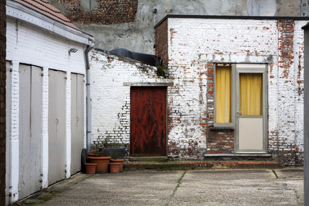 residential district: Garages in a residential district of the city of Mechelen in Belgium. Stock Photo
