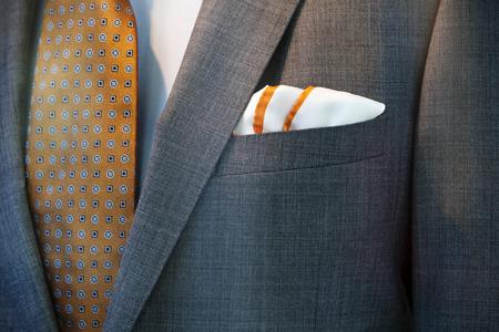 handkerchief: Tasteful combination of the handkerchief, jacket, tie and shirt Stock Photo
